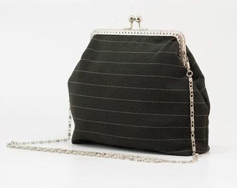 Black Clutch Purse - Evening Clutch Purse - Elegant Clutch Purse - Silver Frame