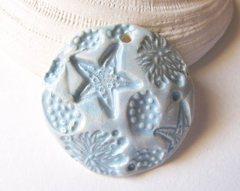 Azure Blue Sea Breeze Pendant Stoneware Clay