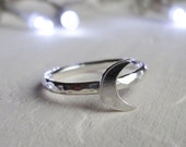 Moon Ring- Crescent moon ring- Astronomy Gifts- Sterling Silver Ring- Stacking Ring- Space Ring- UK seller- Solid silver ring- Hammered ring