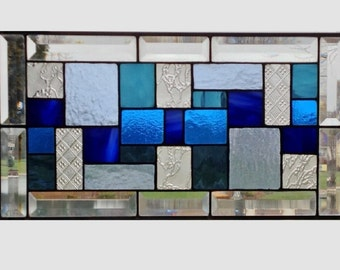Bevel Stained glass panel window hanging geometric blue clear stained glass window panel suncatcher modern stained glass transom 0093