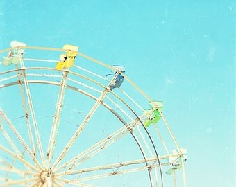 ferris wheel photo // ferris wheel art print // carnival fair artwork // large art photography - Wheel