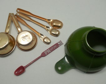 Vintage Kitchen Accessories for everyday, 1960s & 1970s Kitchen Aids, Aluminum Measuring Cups-Measuring Spoons, Olive Green Canning Funnel