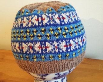 Handknitted fairisle shetland hat, beanie,tam, beret, skiing,walking,hiking,winter wool hat,outdoors,fishin,sailing,adventure