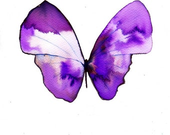 """pale violet purple and white butterfly 8 X 10"""" original watercolour painting"""