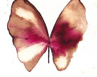 fuscia pink, brown and white gold  butterfly. ORIGINAL ART watercolour painting