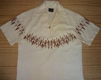 Mens Vintage 70s Iolani TIKI Dudes Hawaiian Shirt - L - The Hana Shirt Co