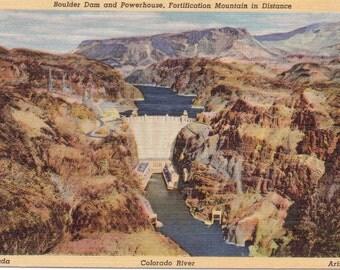 Boulder Dam, Powerhouse, Fortification Mountain - Linen Postcard - Unused (A11)