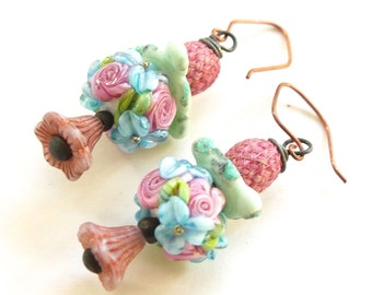 Stacked Floral Earrings - Handmade Artisan Jewelry