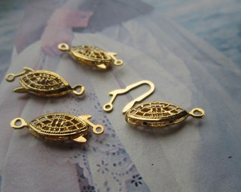 Vintage Gold Plated  Filigree Fish Hook Clasps Closings 4Pcs.