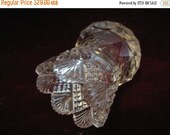 Valentine SALE Antique 1890's EAPG Scalloped Seven-Point Crystal Toothpick Holder Diamond Cut