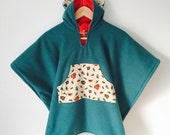 Car Seat Poncho Cape (Teal Cardinals) Kids Hooded Fleece Poncho Cape with ears