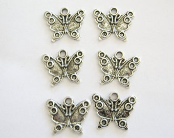 Butterfly Charms, Butterflies, Silver Colored Butterflies, Pewter Butterflies, Pewter Butterfly Charms