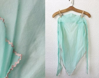 1950's Apron, Robin's Egg Blue with Pink and Gold Trim, Crisp Cotton, Gift for a Hostess or Mother's Day, Easter and Holiday Entertaining