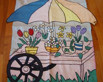 Decorative Flag Flower Cart Full Size Garden Flag Vintage
