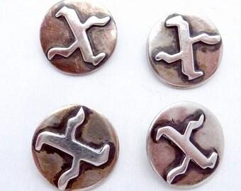Vintage La Cucaracha Taxco Mexico Mexican 980 Silver Group of 4 X Buttons 22362