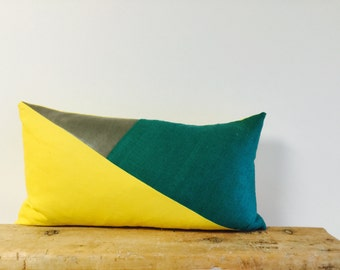 Color Block/Grey Leather/Yellow/Green/Lumbar Pillow Cover/Triangle/Custom Size/Handmade/Eclectic/ZigZag Studio Design