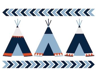 Teepees Wall Art Boy, Teepees Nursery Art Boy, Woodland Nursery Art Boy, Tribal Nursery Art Boy, Tribal Wall Decor Boy, Navy Blue, Chevron