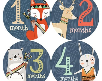 FREE GIFT, Baby Month Stickers Boy, Monthly Baby Stickers Boy, Woodland Animals, Fox, Deer, Bear, Rabbit, Tribal Woodland Baby Month Sticker
