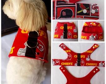 Dog Vest Harness Kansas City Chiefs Football Team print Dog Vest Harness  for Small Breed Dogs or Cats.