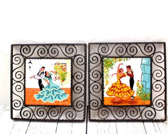 Handpainted Flamenco Dancer Trivets, Set of 2 Vintage Flamenco Dancers, Handpainted Signed Trivets, Handpainted Spanish Dancers,