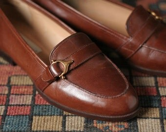 Aigner brown loafers, Aigner Tracey, vintage loafers, Womens size 7M