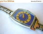 WATCH CLEARANCE EVENT Chaika Soviet womens vintage russian wrist watch 17 jewels striking blue dial Chaica