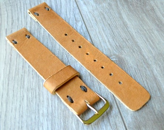 Camel light Brown 16mm leather watch band, Handmade leather watch strap, light brown genuine leather watch strap 20mm watch band