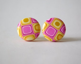 Stud Earrings, 11 mm polymer clay jewelry, pink and yellow checkerboard earrings