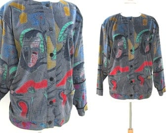 Vintage 1980s Escada by Margaretha Ley Soft Velvet Jacket with Abstract Faces