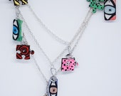 RESERVED FOR J.B. - OOAK Upcycled Multi-Strand Necklace with Repurposed Wood Puzzle Pieces and Plastic Dominos