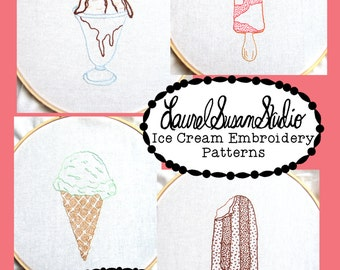 Ice Cream Cone Sundae Bar Fruit Bar Embroidery Patterns PDF Download Frozen Treat Summer Hand Stitching Hand Drawn Design