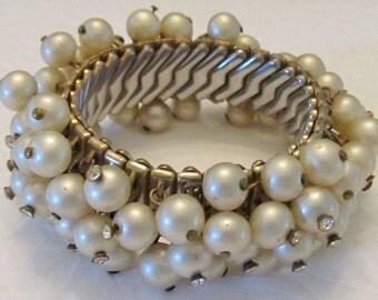 Vintage Pearl and Rhinestone Cha-Cha Bracelet - Repair-Repurpose