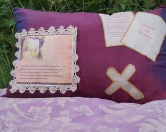 Jane Austen Pillow. Mansfield Park Quote. Lace Detail Purple Satin Cushion Applique Embroidery