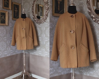 Vintage 1960's Tan Wool Cropped Jacket M/L