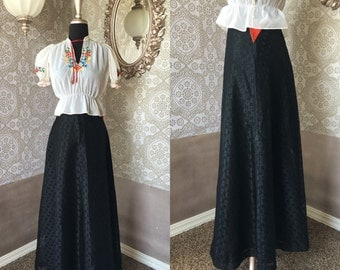 Vintage 1970's Deadstock Floor Length Black Lace Skirt Small/XS