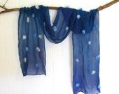 Dark blue silk scarf with light blue wool pom poms