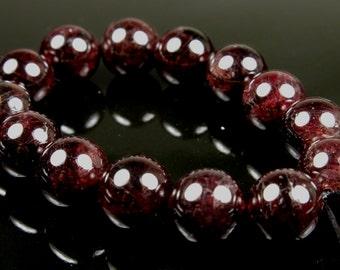 Dark Wine Red Garnet Round Bead  - 8.5mm - 14 Pieces - B4008