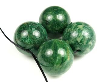 Luscious Green African Jade Large Round Beads - 16 mm - 4 beads - B4900