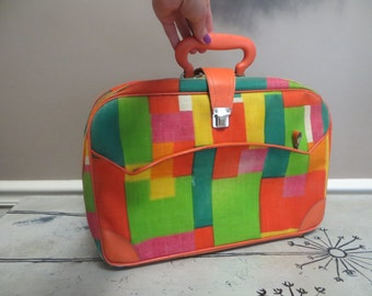 1960s Vintage Suitcase Made in Japan Geometric Design Colorful Laptop Case Storage Bag Small Suitcase Zippered Bag Carryon Bag Mod Briefcase