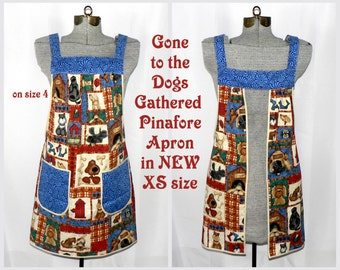 "XS Pinafore Apron, ""no tie apron"" loose-fitting all day apron - Gone to the Dogs - OOAK designed by LauriesGiftsBiz, ready-to-ship"