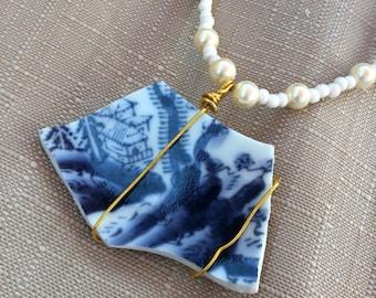Vintage China Statement Beaded Handmade Necklace