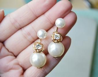 Gold Rose Pearl Ear Jacket Earrings