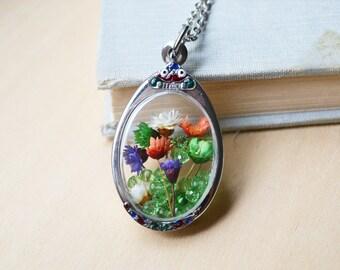Flower Fields Terrarium Necklace