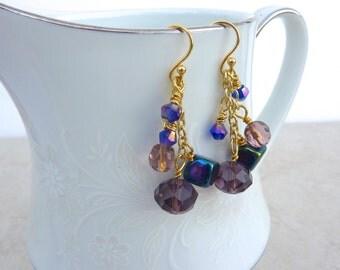 Purple Dangle Cluster Earrings, Statement Earrings, Purple Boho Earrings, Multi-Colored Earrings