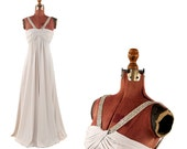 Vintage 1970's Victoria Royal Pale Gray Silver Beaded Empire Waist Grecian Goddess Maxi Evening Cocktail Dress S