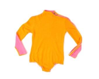 Vintage 1970's Terrycloth Two Tone Colorblock Neon Orange + Pink Mod Zipper Retro Bodysuit S
