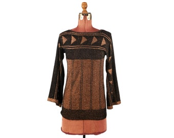 Vintage 1970's Acrylic Knit Black + Copper Metallic Lurex Bell Sleeve Triangle Print Pullover Sweater M
