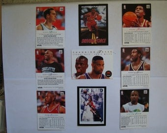 9 NBA basketball TRADING CARDS, skybox brand. plus an  opened package. 1994 season cards, ex - vg condition, see description