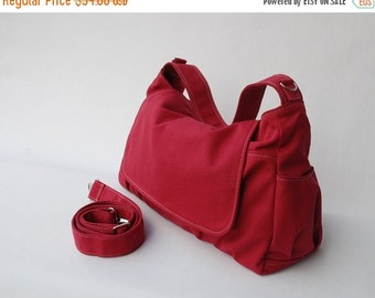 Back To School SALE 30% - Pico in Cherry Red (Water Resistant Insulated) Messenger Bag/ Shoulder Bag/Diaper Bag/ School Bag/ Women /For Her/