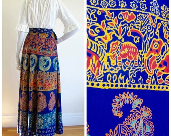 1970s Indian Cotton Elephants, Deers & Flowers Indian Cotton Maxi Wrap Skirt